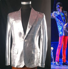 Rare Classic MJ Michael Jackson This is it Silver Punk Rock Casual Jacket Informal Suit Blazer