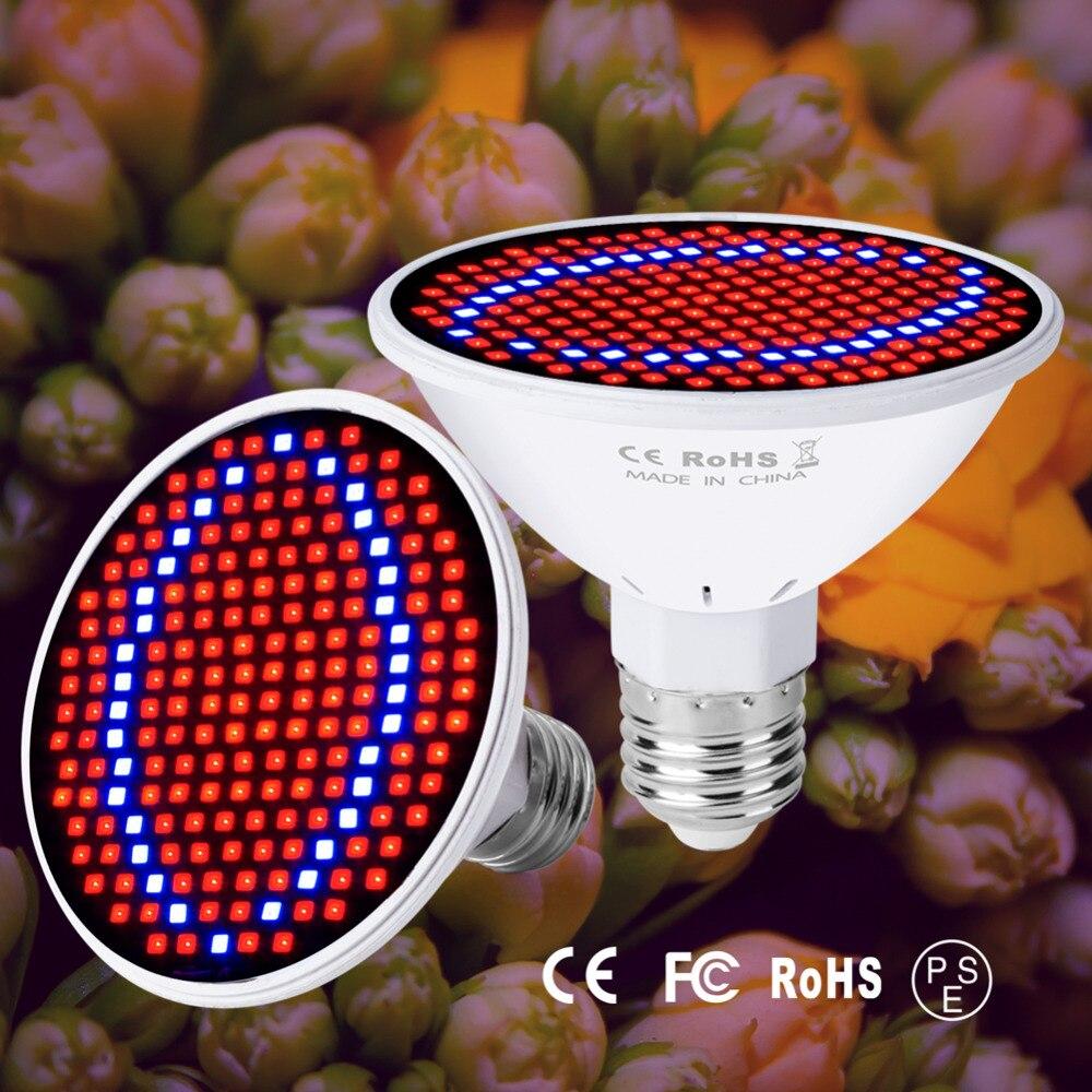 GU10 LED 220V Luz de planta E14 bombilla de Cultivo Led E27 Fitolamp MR16 lámpara de Phyto 48 60 80 126 200LED de espectro completo interior para protector de cultivo