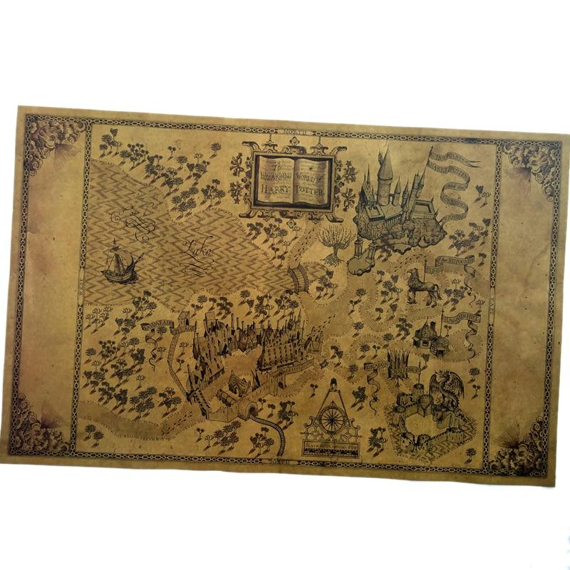 Mapa del mundo Wizarding de alrededor, gran póster de papel de la película 51*32,5 cm, clásico Retro, Vintage, de póster manualidades de papel