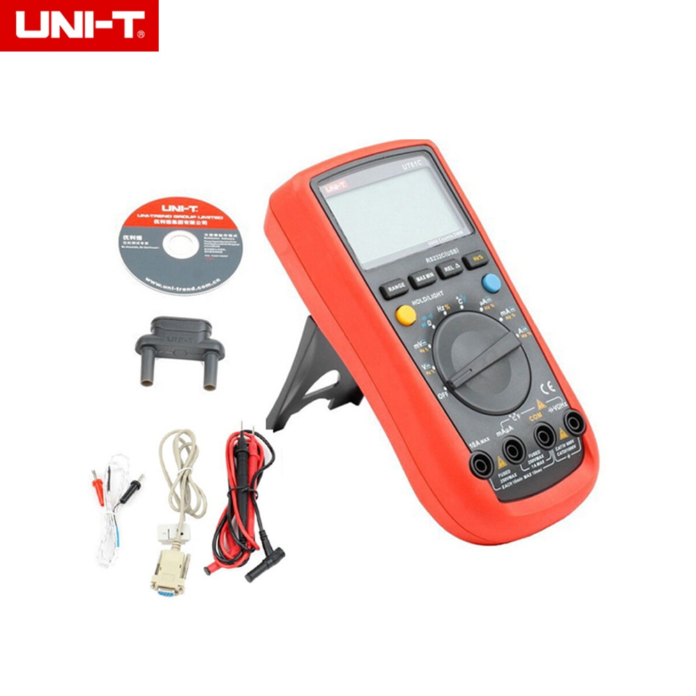 UNI-T UT61C Multímetro Digital AC/DC tensão corrente auto/manual range Medidor backlight & RS232