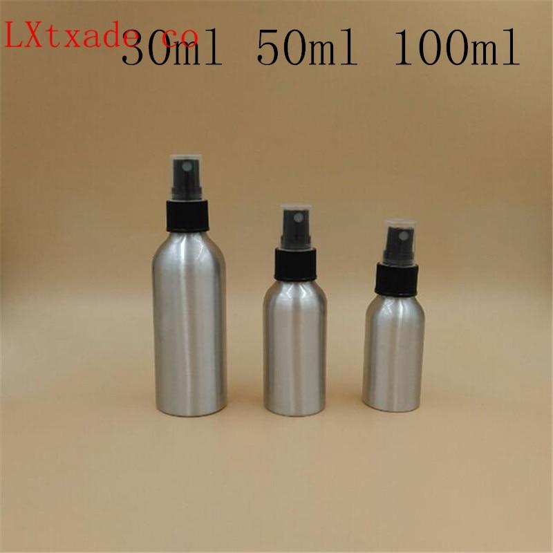 شحن مجاني 30 50 100 120 مللي فارغة الفضة معدن الألمنيوم زجاجات العطور مع رذاذ 1 3.5 4 OZ التجميل حاويات الجملة