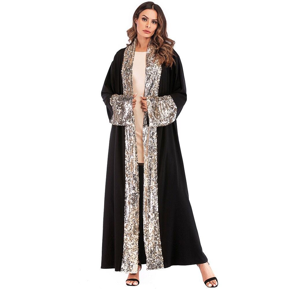 Moda Kimono con lentejuelas Mujer 2019 Bluse Feminino verano negro largo Cardigan Mujer Vintage Blusa con cinturón Top Kimono camisa femenina