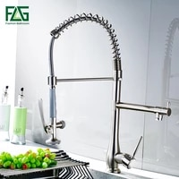 flg spring style nickel brushed kitchen faucets mixer dual spray swivel spout rotatable hot cold faucet sink mixer tap 192 33n