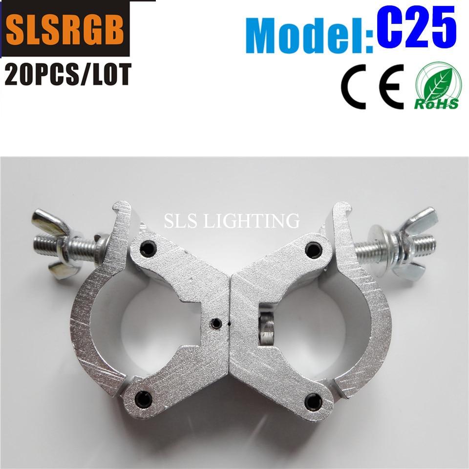 20 pçs/lote truss gancho de alumínio resistente braçadeira de fardo para a luz do estágio truss telhado truss iluminação braçadeira de alumínio