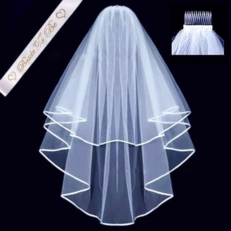 Velos de novia de boda blanco para ser satén Sash despedida de soltera sobre etiqueta cinturón nupcial ducha Kit de decoración suministros