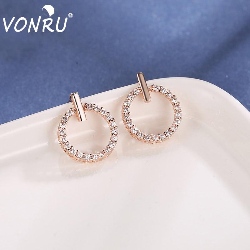 El más nuevo de moda Zirconia DE LA MUJER Bling pendientes Simple delicado redondo círculo pendientes de fiesta para mujer regalo de joyería de moda