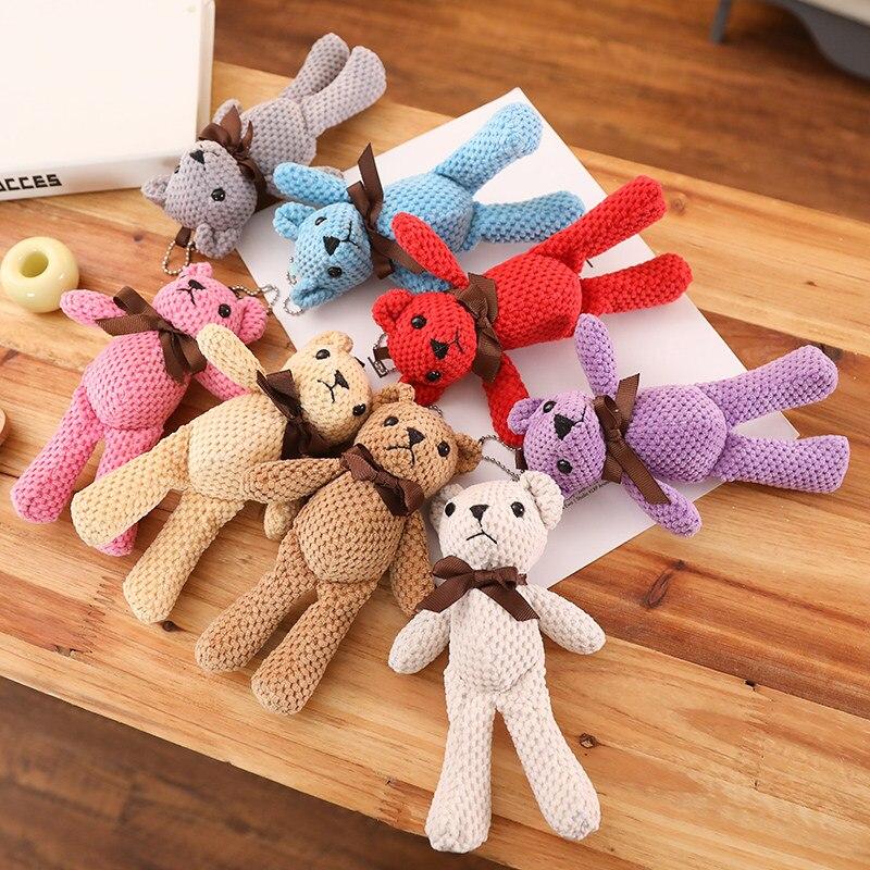 ¡Novedad! 1 unidad de Mini oso de peluche de 18CM, lindos osos de peluche blancos, muñecos colgantes, regalos de cumpleaños, decoración del banquete de boda