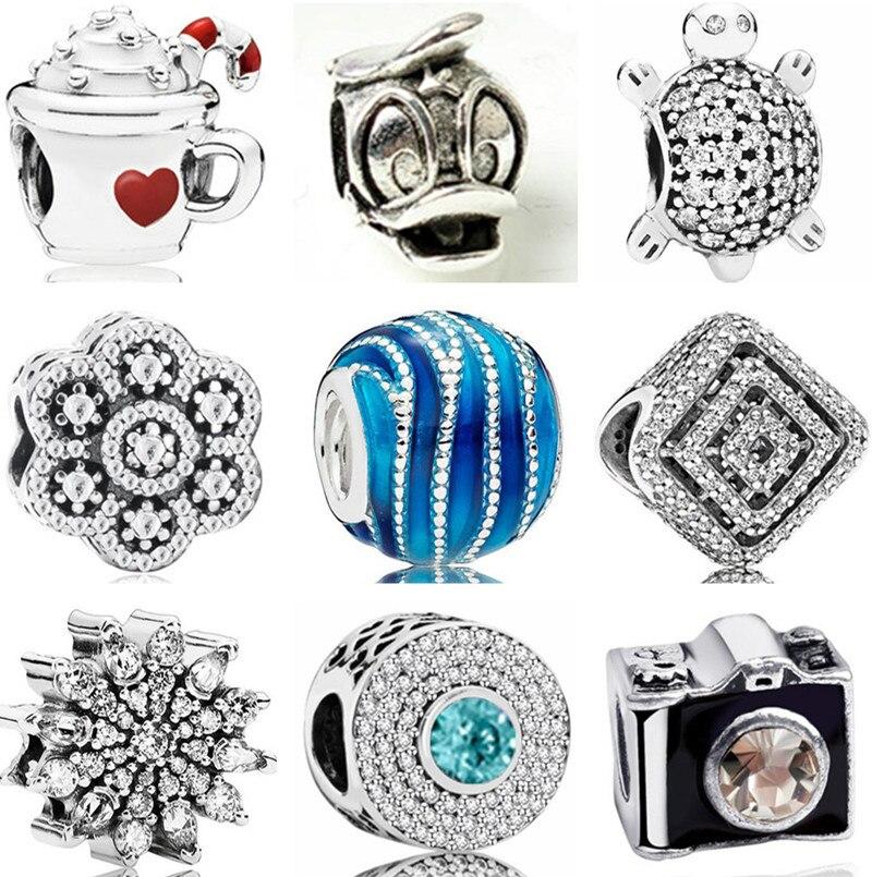 Простой стиль, Длинные Цветы, фотокамера с изображением Льва, кота, кулон Микки, бисер, Подходит для Pandora, подвески, браслеты для женщин, изгот...