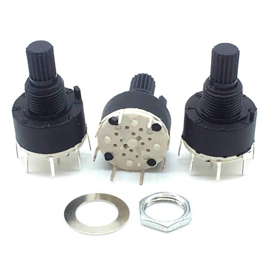 2 polos 3/4 posición SR16 16mm rotativa de plástico banda interruptor DC60V 0.3A flor 15 MM eje redondo (cada posición 45 grados)