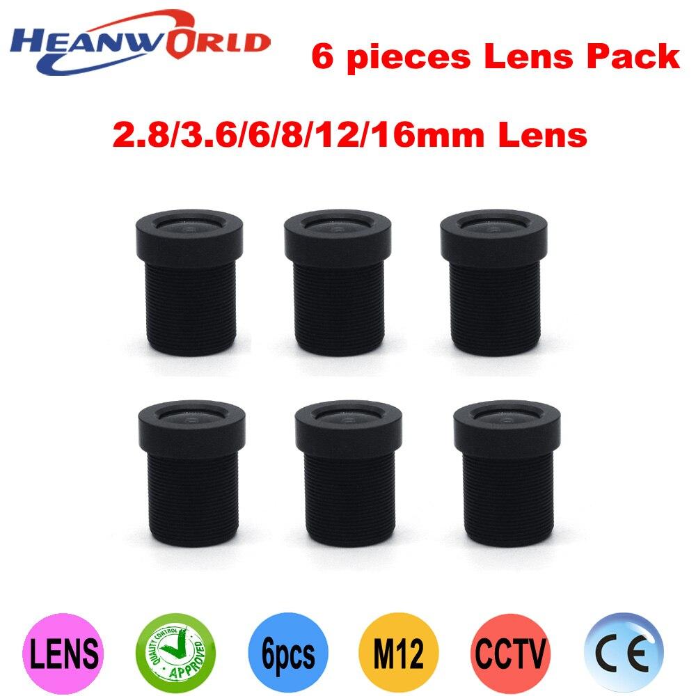 Heanworld envío gratis 2,8mm 3,6mm 4mm 6mm 8mm 12mm juego de lentes de IRIS fijos de 16mm para cámara CCTV cam y CCD CMOS (paquete de 6 lentes)