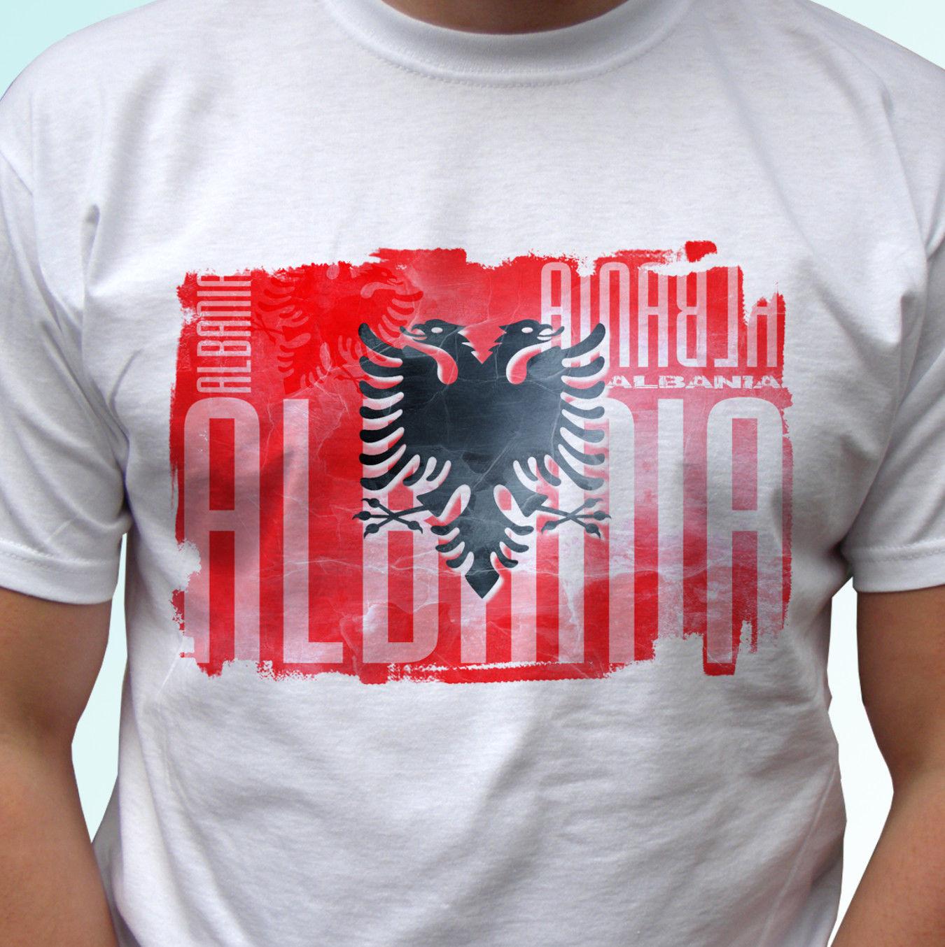 Camiseta Hombre Homme 2019 para hombres altos y grandes Bandera de Albania diseño blanco camiseta Top moderna camiseta