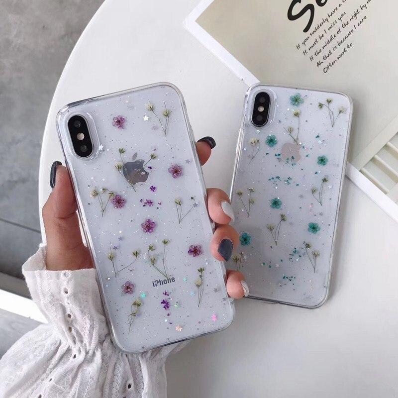 Flores reales flores secas hechas a mano prensado suave TPU cubierta para iPhone 11X6 6S 7 8 plus Phone Case para iphone XR XS Max cubierta