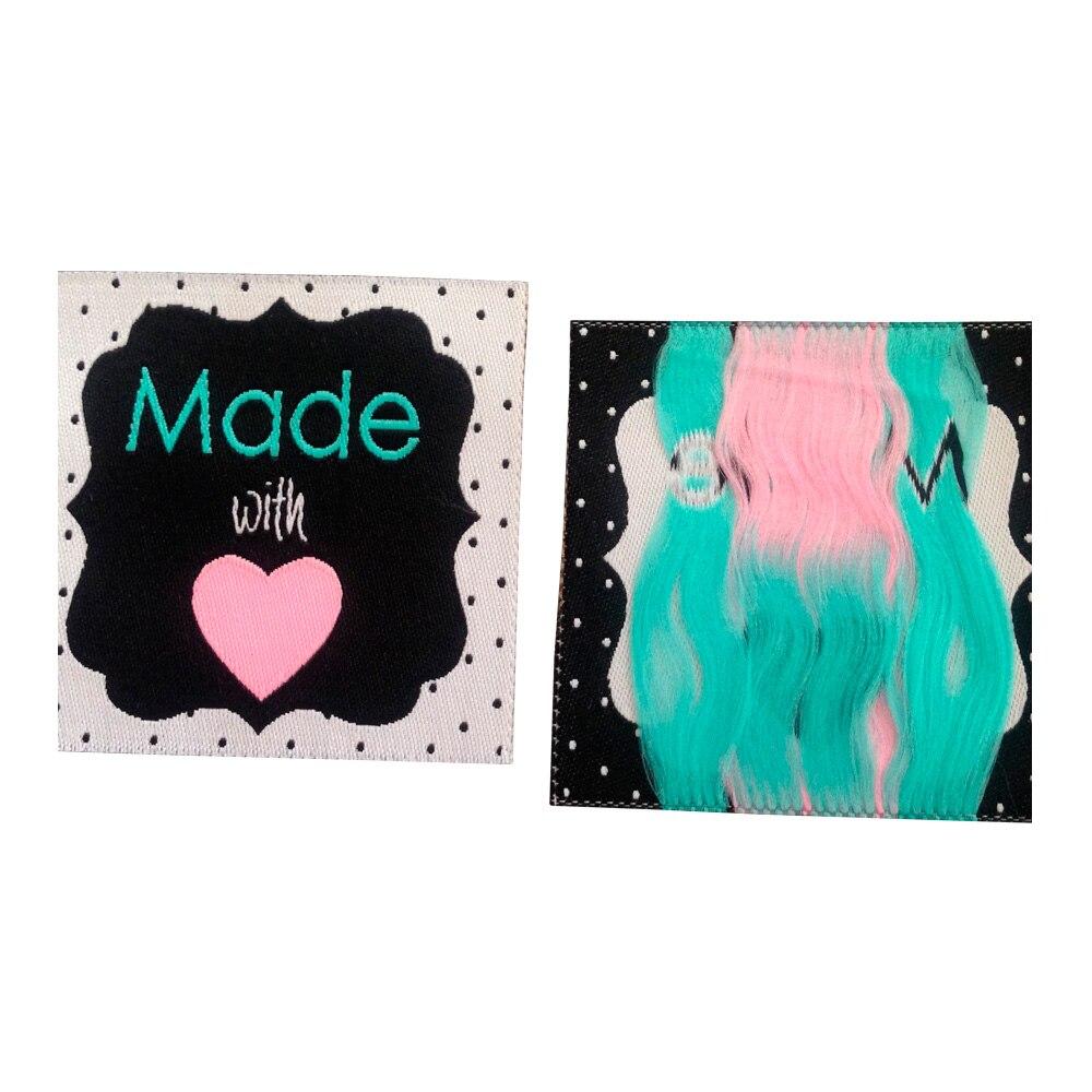Изготовленные на заказ с ткаными этикетками в виде сердца с собственным логотипом для сумок для одежды, ярлыки для одежды, ярлыки для шитья ...
