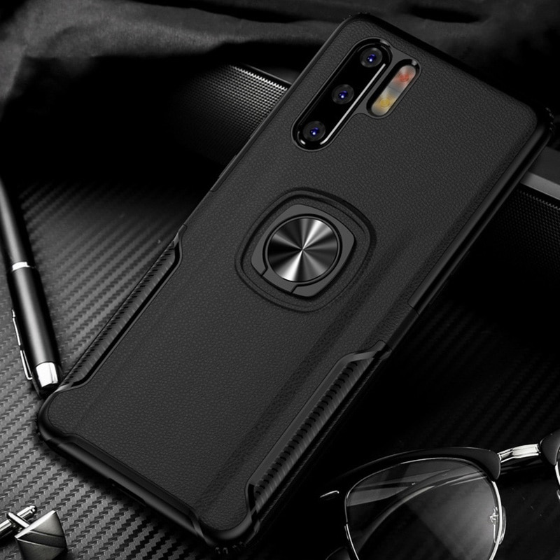 Toraise para Huawei P30 pro funda de Metal anillo de coche soporte de silicona para Huawei p30 lite cubierta trasera de teléfono capa p30 soporte de coche