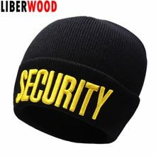 LIBERWOOD, boina negra de seguridad, gorra de calavera para reloj, portero de seguridad, portero de policía para Club, boina tejida de invierno para hombre, gorro, gorro