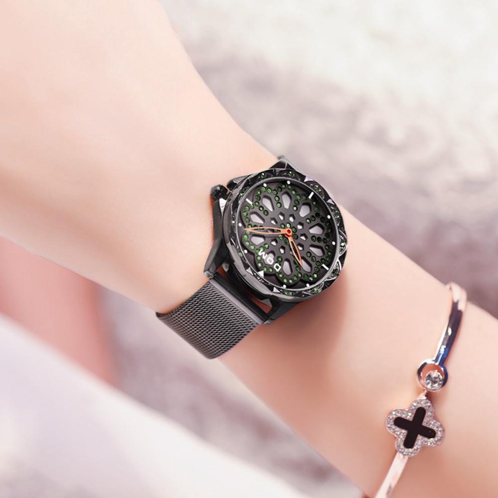 DOM Brand Luxury Women Quartz Watches Fashion Casual Flower Female Wristwatch Waterproof Black Watch Reloj Mujer G-1257BK-1MS enlarge