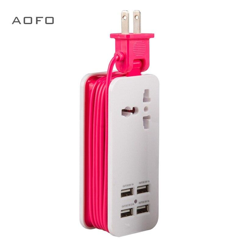 Tablero de energía USB, enchufe de viaje portátil 1,5 M / 5ft cable de alimentación, enchufe universal Entrada de amplio rango 100v-240v enchufe de alimentación