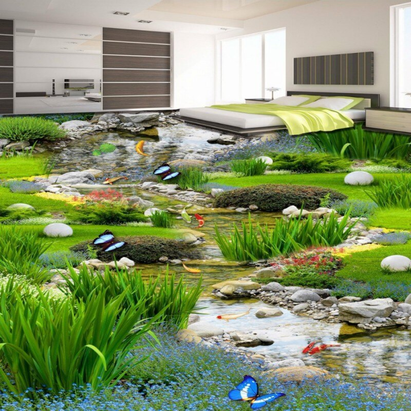 Envío Gratis 3D última carpa herbívora de jardín suelo pintura baño estudio de baile pasarela PVC papel pintado de suelo mural