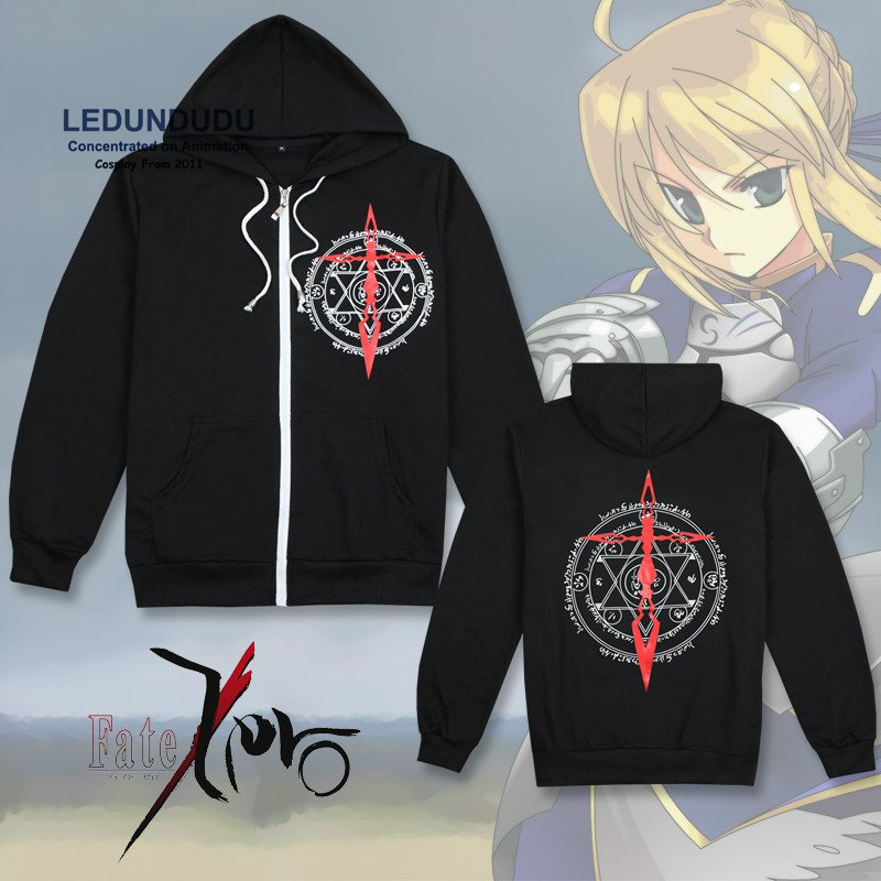 Fate/stay noche Cosplay disfraces fate zero hombres chaqueta elegante con capucha Anime manga larga negro Saber cremallera sudaderas para otoño