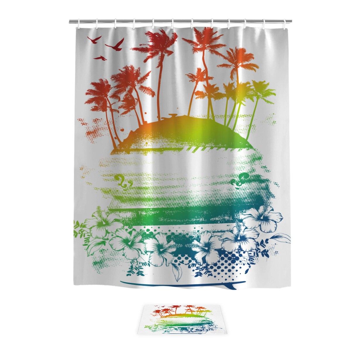 Esterilla de baño para surfear en Hawaii, con cortina de ducha, anillos exteriores, bonitos juegos divertidos de cortinas de ducha con alfombras y toallas