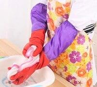 thick warm rubber gloves dishwashing laundry latex gloves plus velvet long house gloves
