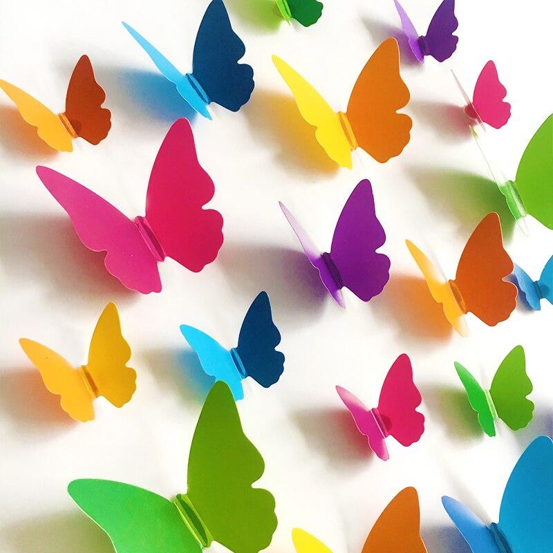 Adesivo de parede de borboleta 3d pvc, 30 peças, adesivo de arte de parede para sala de estar, cor sólida, borboletas para decoração de casa, mural diy decalques em forma de