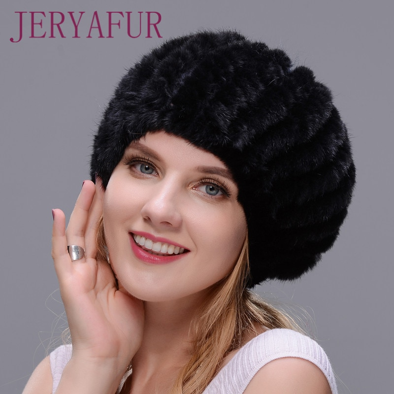 المحار قبعة حار بيع النساء الشتاء كاب الأذن الدافئة المنك محبوك قبعة الفراء قبعة مع الكرة الصغيرة على أعلى شعبية نمط قبعة