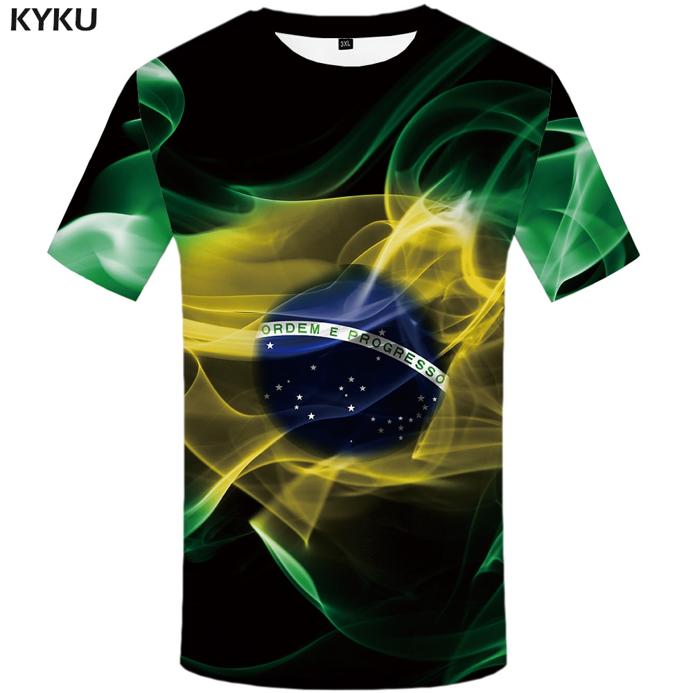 KYKU Brazil Tshirt Men Green Flame T-shirt Hip Hop Tee Black Print T Shirt 3d Gothic Punk Rock Mens Clothing Summer Streetwear flame butterfly street fashon t shirt men 2020 summer crew neck men s tshirt hip hop tee shirts