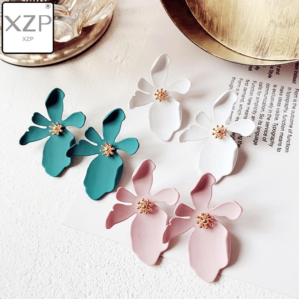 XZP nuevo diseño de joyería dulce pintura en aerosol colgante pendiente con Pendientes de flores declaración moda Brincos para niñas regalo Pendientes