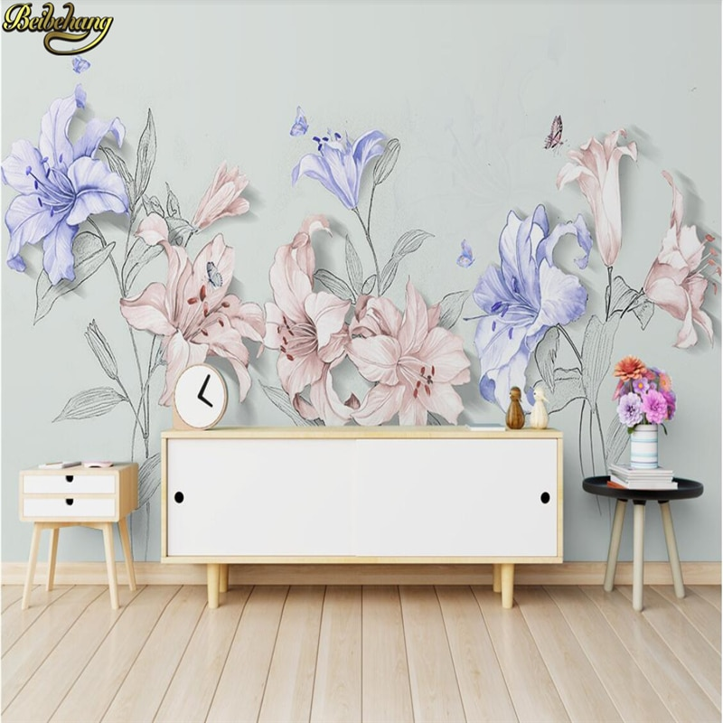 beibehang embossed magnolia pearl nordic jewelry wall papers home decor 3d flooring wallpaper for living room home improvement beibehang custom Vintage lilies Painting 3d Wallpaper for Living Room Backdrop Home Improvement Murals 3D wall papers home decor