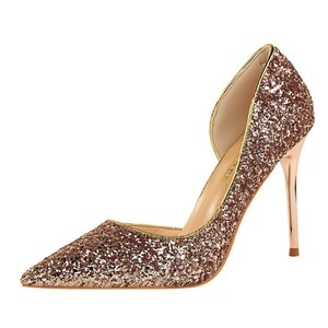 high heel pumps shoes sexy pumps heels woman nightclub was thin women's shoes high-heeled mouth pointed side of hollow sequins