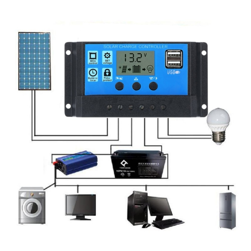 Herramienta para el hogar LCD PWM 10/20/30A Dual USB Panel Solar regulador de batería 12/24V
