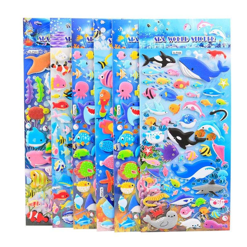 Mar mundo animales 3D pegatinas decorativas para diario álbum etiqueta pegatina para álbum de recortes DIY papelería pegatinas