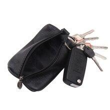 Porte-clé en cuir véritable porte-clé de voiture portefeuilles hommes clés organisateur femme de ménage porte-clés couvre fermeture à glissière clé coque de protection sac à main
