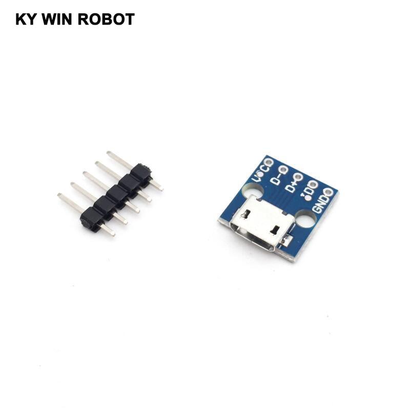 1 pcs MICRO 5pin USB para Adaptador DIP tipo de conector fêmea B pcb conversor pinboard 2.54 tipo USB Para Arduino módulo