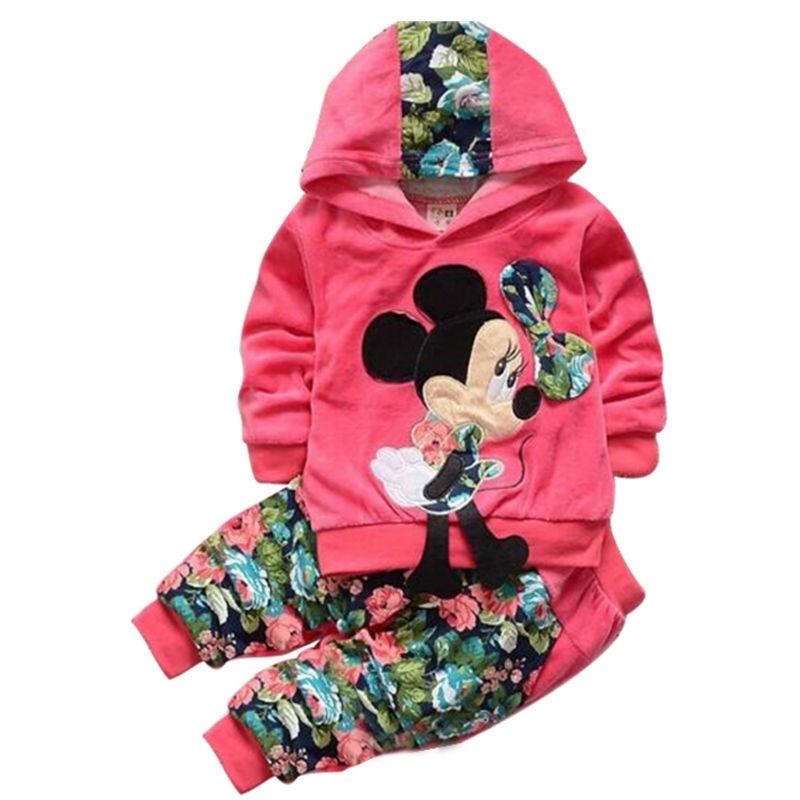 Baby Girl Clothing Sets Kids Children 2020 spring velvet clothing set Cartoon Minnie baby girls sport suit Hoodies + Pants