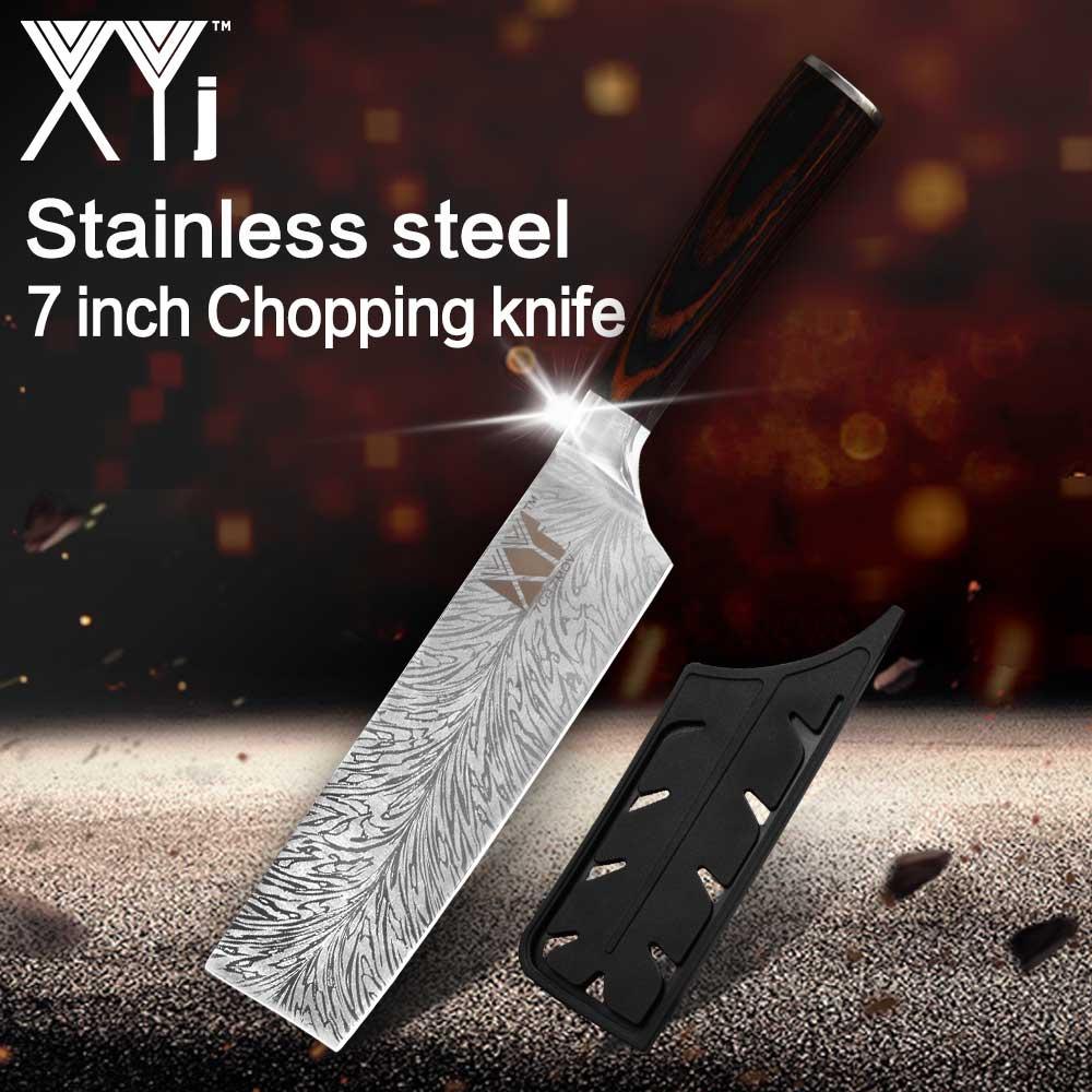 Cuchillo de cocina profesional japonés XYj, cuchillos de Chef 7CR17 440C, cuchillo de carnicero de acero inoxidable de alto carbono, cuchillo Santoku