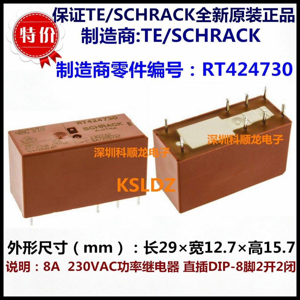 Реле мощности TE TYCO SCHRACK RT424615 115VAC RT424730 230VAC 8A250VAC DIP-8, бесплатная доставка, Лот (5 шт./лот), 100% оригинал