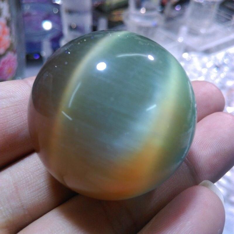 95g Rare Natural Cuarzo color de Ojo de Gato Crystal Healing Bola Esfera 38-40mm Soporte