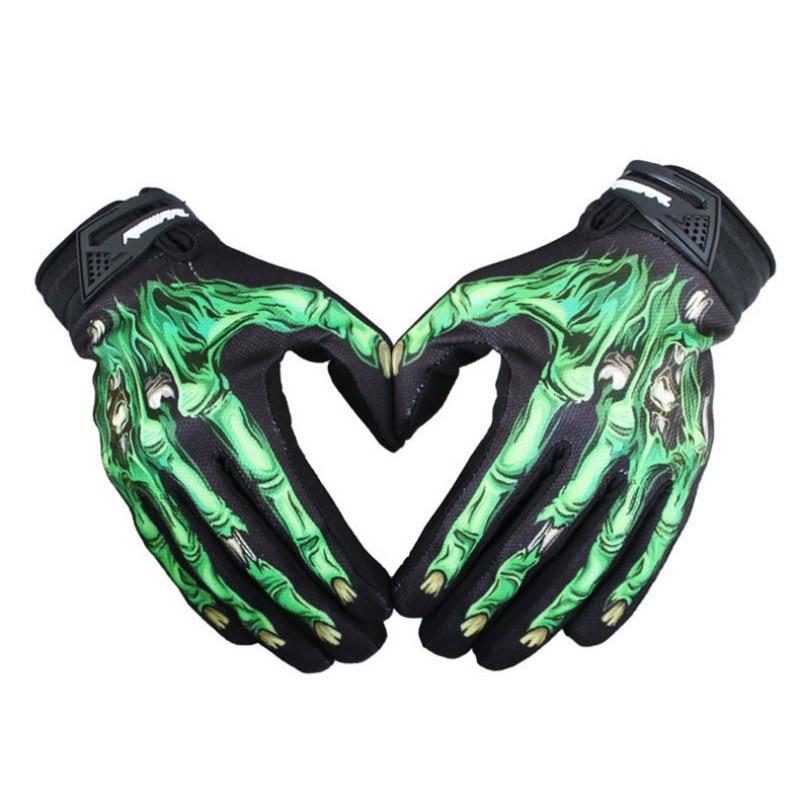Мужские перчатки для велоспорта, байкерские, гоночные, мотоциклетные перчатки из полиэстера, скелетоны, Goth Skull Bone, спортивные перчатки с полным покрытием пальцев