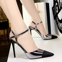 shoes woman high heel mules sandals sexy pumps fashion professional ol womens shoes hollow pointed ladies block heel shoes