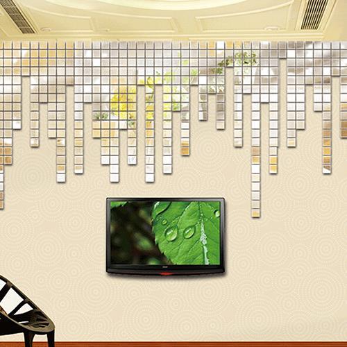 Wholesale 100Pcs 2x2cm Acrylic 3D Mural Wall Stickers Mosaic Mirror Effect Room DIY Square Decors DIY 3D Mirror Wall Sticker
