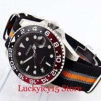 PARNIS 40mm Black Dial Sapphire Glass GMT Hand Date Magnifier Silver Color Case Nylon Strap