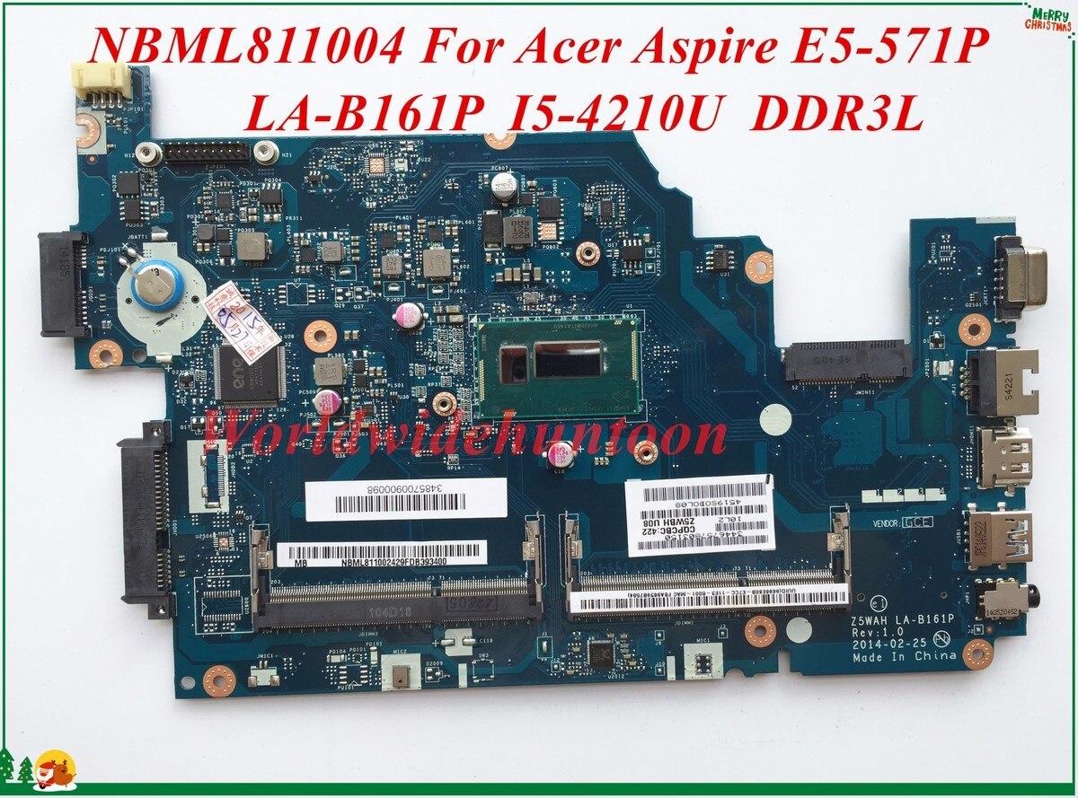 Hohe Qualität Motherboard NBML811004 Für Acer Aspire E5-571P Laptop Motherboard Z5WAH LA-B161P SR1EN I5-4210U DDR3L 100% Getestet