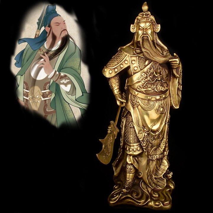 Efficacious OFFICE HOME Protection #37 CM de alto guandí estatua de bronce talismán # dinero dibujo artes marciales dios de la riqueza gong