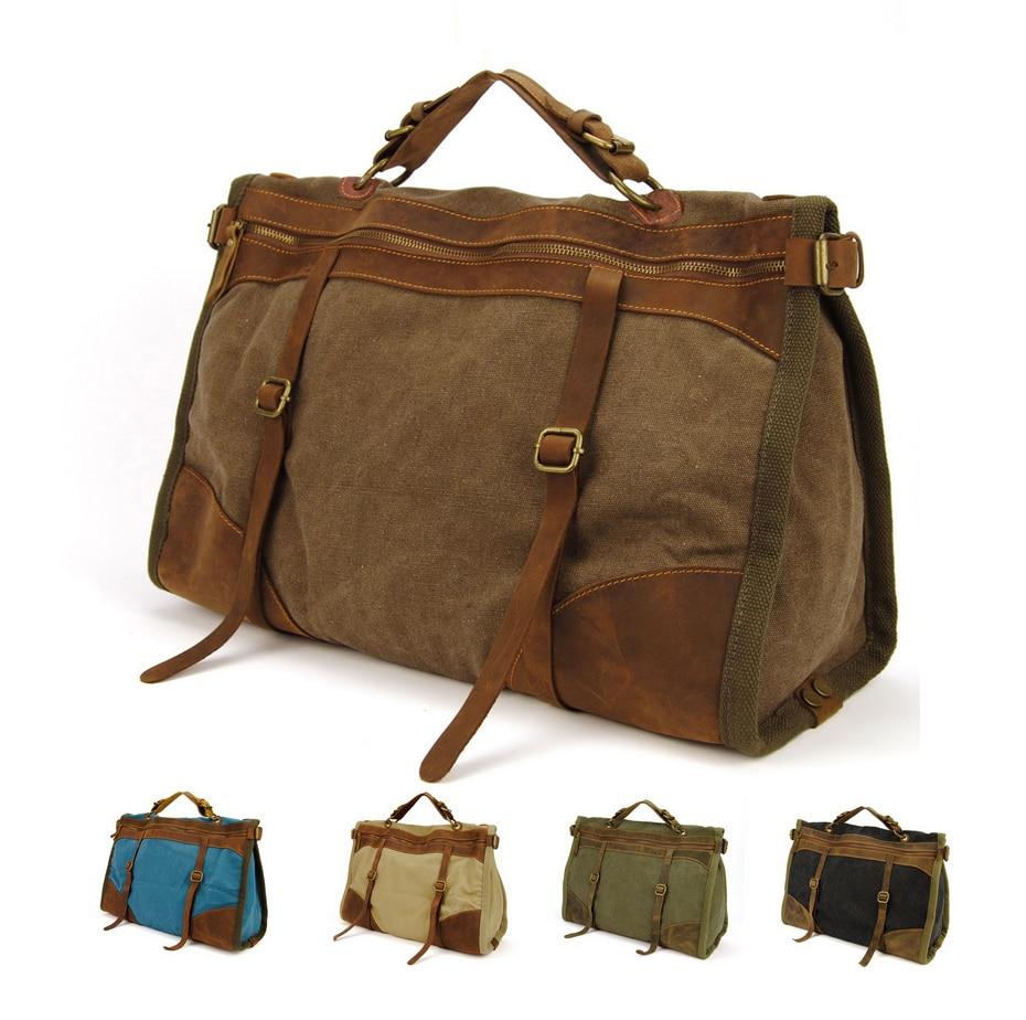 حقيبة سفر جلدية كلاسيكية للرجال ، قماش عسكري عتيق ، حقيبة عطلة نهاية الأسبوع ، حقيبة يد ، ترفيه M314 #