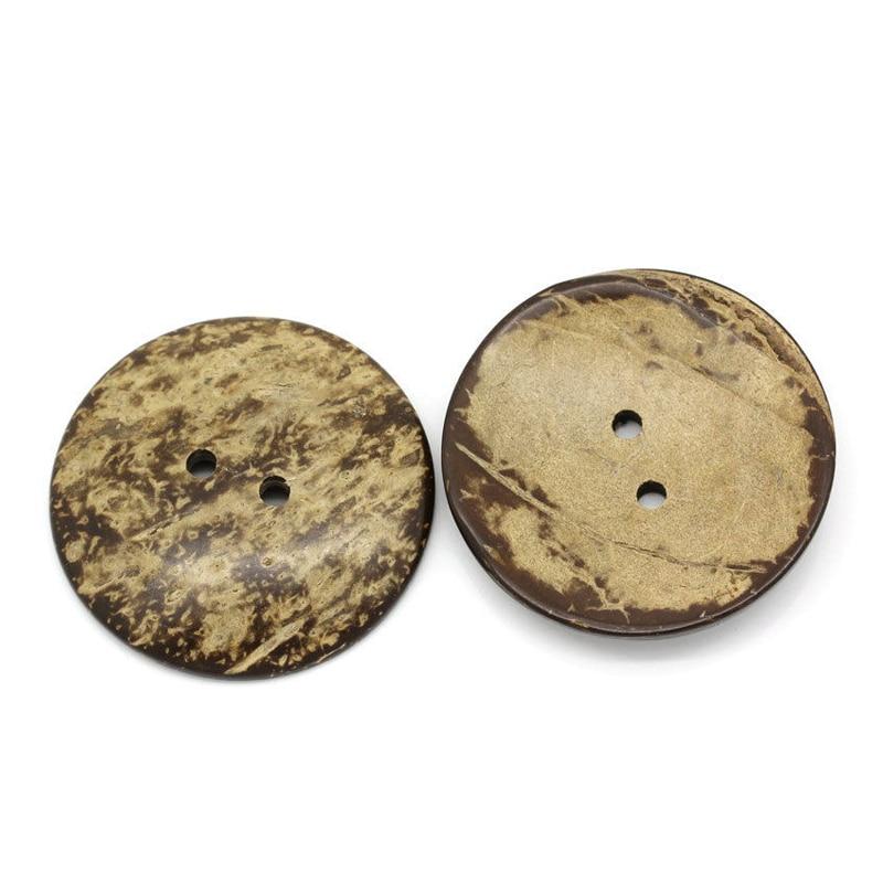 Lbme 10 pces botões de casca de coco costura scrapbooking marrom redondo 2 furos 5cm de diâmetro.
