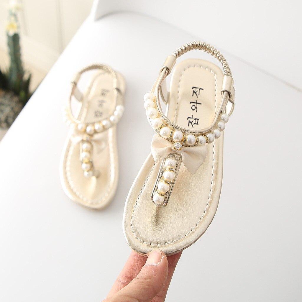 Sommer kinder sandalen für mädchen Bowknot Perle Prinzessin schuhe baby mädchen sandalen Tanga kinder sandalen kristall # XTN