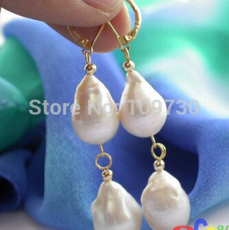 Ry00323 blanco KESHI REBORN perla pendiente 14k A0422