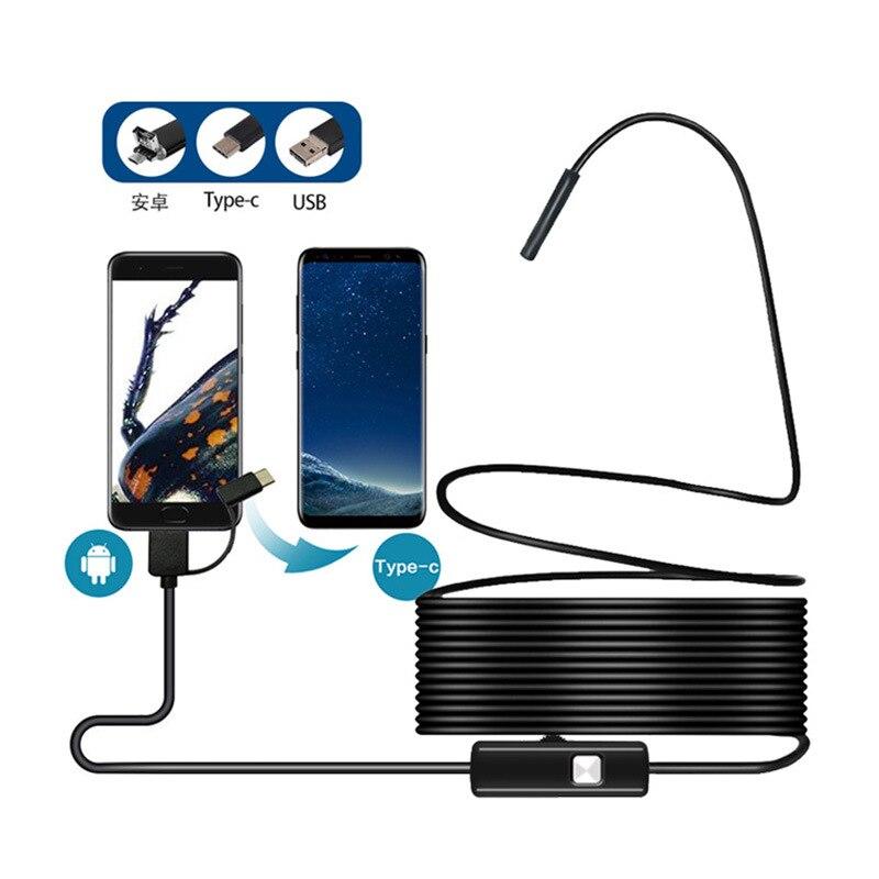TYPE-C/Mirco USB Android Mobile Phone Endoscopic 5.5 Mm 1 M 2 M 5M 10M Industrial Mini Video Camera 6 led light
